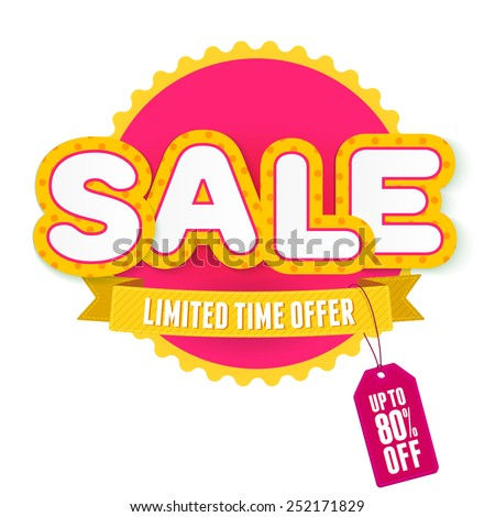 Yellow and pink label Sale. Vector illustration for advertising. - stock vector