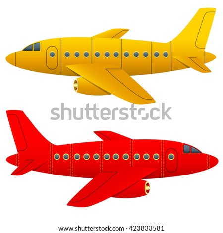 Yellow and red aircraft on a white background. Isolated objects. Cartoon style. Vector Image. - stock vector