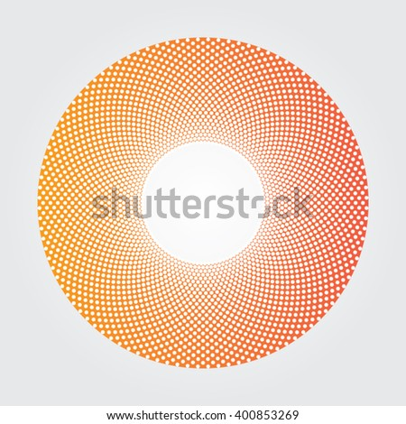Yellow and red gradients donut dot design