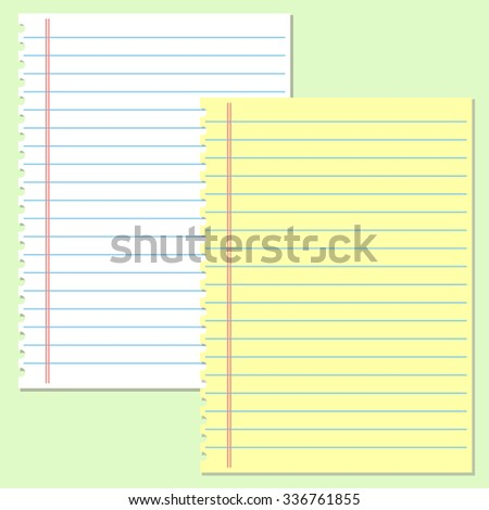 yellow and white lined paper - stock vector
