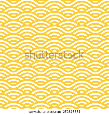 Yellow and white waves seamless pattern. Vector linear ornament. - stock vector
