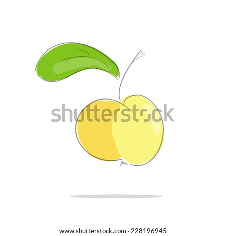 Yellow apple with green leaf a white  background. Vector illustration - stock vector