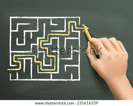 yellow arrow going through a maze drawn by hand isolated on blackboard - stock vector