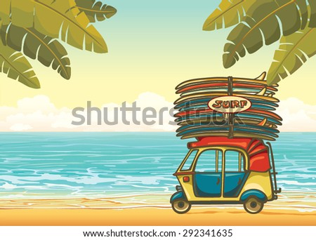 Yellow auto rickshaw with surfboards on a tropical beach with palm leaves and blue ocean. Vector illustration about surfing. - stock vector