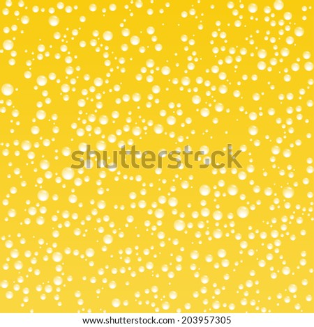 Yellow background with bubbles, vector illustration  - stock vector