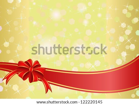 yellow background with red ribbon and bow - stock vector
