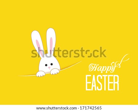 Yellow background with white Easter rabbit - stock vector