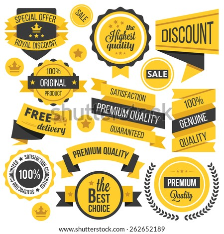 Yellow badges,ribbons and labels set. Vector illustration. Isolated on white background.