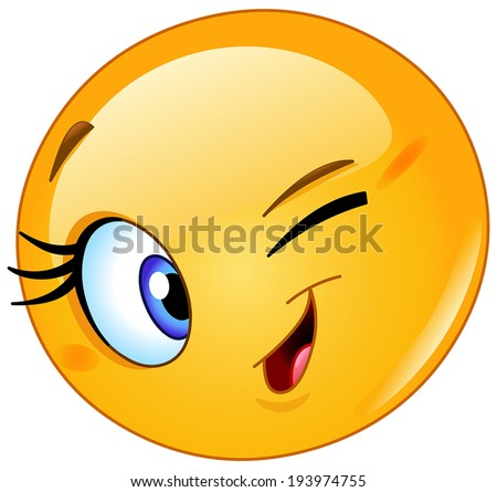 Yellow ball winking - stock vector