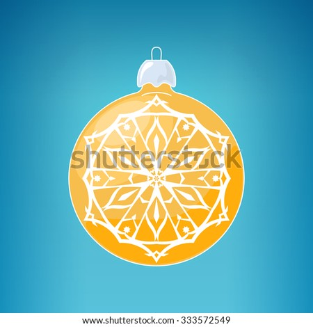 Yellow Ball with Snowflake, Christmas Ball on a Blue Background , Christmas Tree Decoration, Merry Christmas and Happy New Year,  Vector Illustration - stock vector