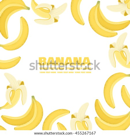 Yellow Banana Frame Exotic Fruit Template Stock Vector HD (Royalty ...