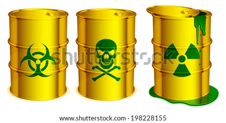 Yellow barrels with warning signs and toxic substance inside. - stock vector