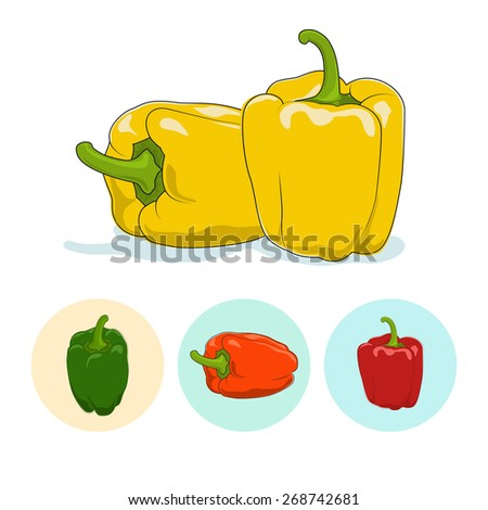 Yellow bell pepper  on white background,set of three round colorful icons, orange,red and green sweet pepper, icon capsicums ,vector illustration - stock vector