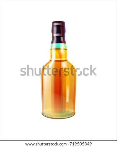 Yellow big shiny brandy or cognac alcoholic bottle with black and green cap and liquid inside. Vector illustration of adult drink isolated on white