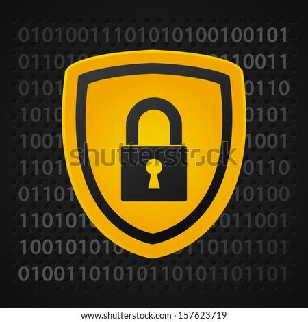 yellow binary shield, data protection - stock vector