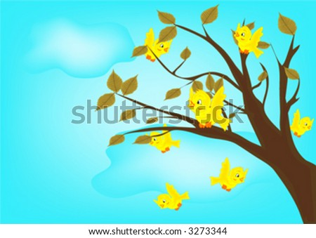 yellow birds on tree