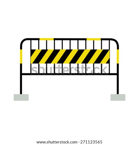 Yellow,black and striped road barrier,barricade, road block vector isolated - stock vector
