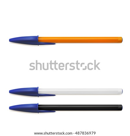 Yellow, Black And White Pen Isolated On White Background. EPS10 Vector