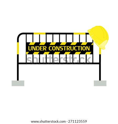 Yellow,black, striped road barrier with under construction sign and yellow building helmet ,barricade, road block vector isolated - stock vector