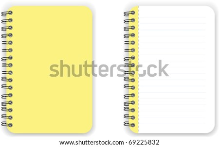 Yellow Blank Notebook Vector - stock vector