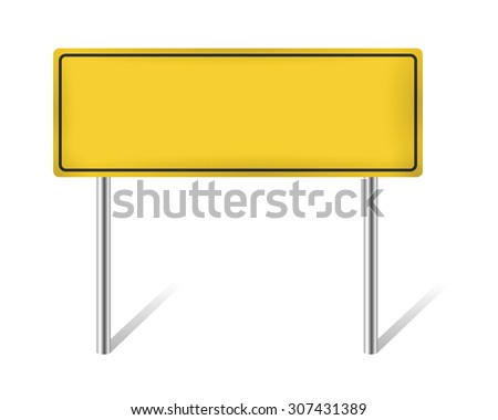 yellow blank road sign isolated on white vector illustration