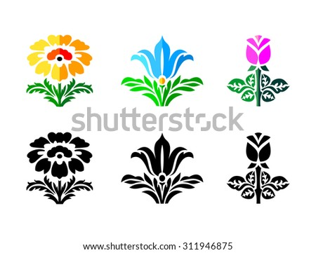 Yellow, blue and pink flowers set, stencil design, vector illustrations - stock vector
