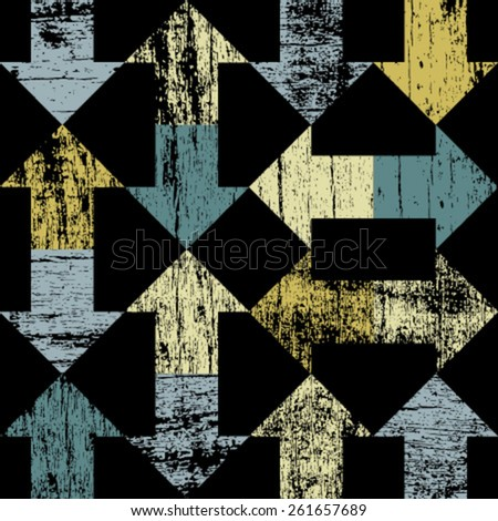 yellow blue arrows seamless pattern on black