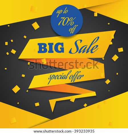 yellow blue sale banner template design eps 10 - stock vector