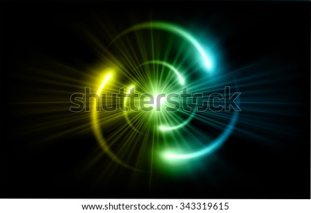 Yellow Blue Shining atom scheme. Vector illustration. dark background. digital. infographics. Abstract Technology background for computer graphic website internet and business. circuit. - stock vector
