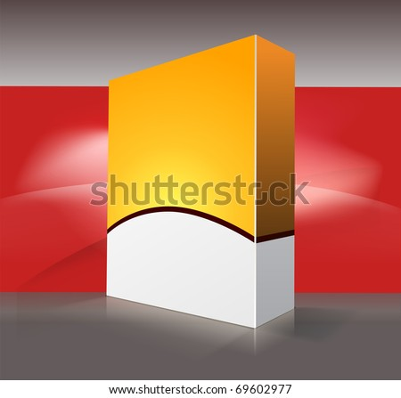 Yellow box for software on red and gray background. - stock vector