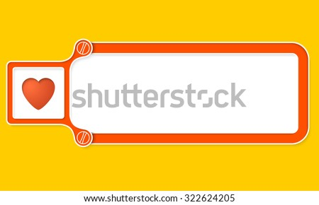 Yellow box with white frame for your text and heart symbol - stock vector
