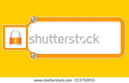 Yellow box with white frame for your text and padlock - stock vector