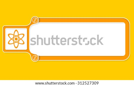 Yellow box with white frame for your text and science symbol - stock vector