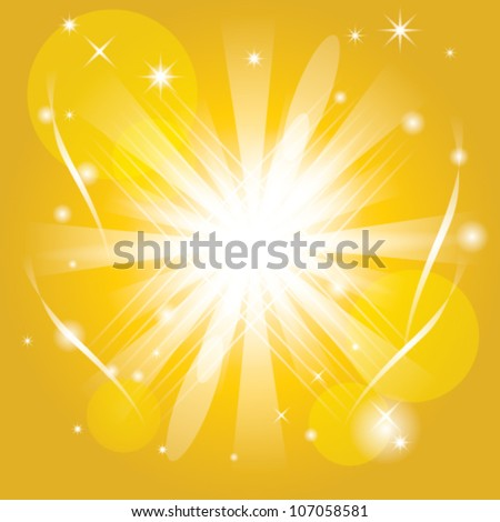 Yellow Bright Sun Vector Background - stock vector