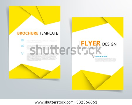 Yellow brochure template flyer design vector origami paper layer overlap with sample text for A4 size - stock vector