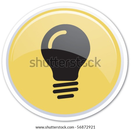 Yellow button bubble - stock vector
