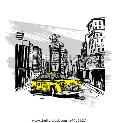 Yellow Cab In New York - stock vector