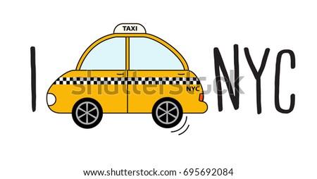 yellow cab retro clipart on white stock vector (2018) 695692084