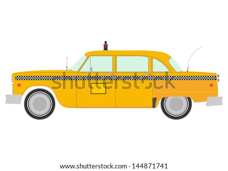 Yellow cab retro silhouette on a white background. - stock vector