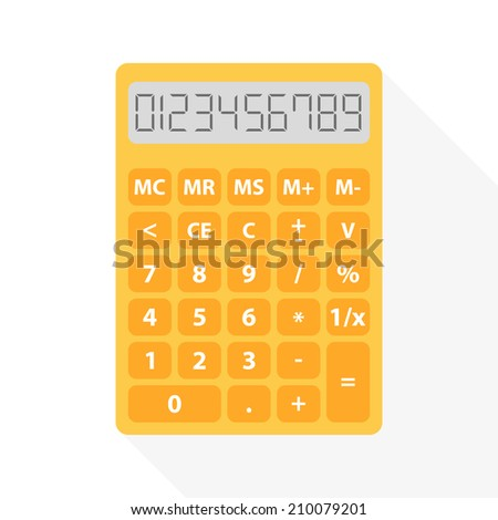 yellow calculator in flat design with long shadow and set of digital numbers - symbol of count, calculation, account and math - stock vector