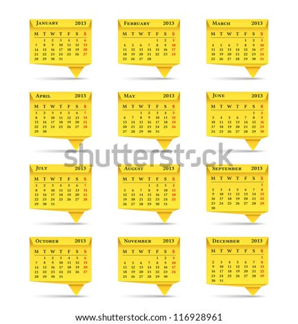 Yellow calendar for 2013  year, origami style, vector eps10 illustration - stock vector