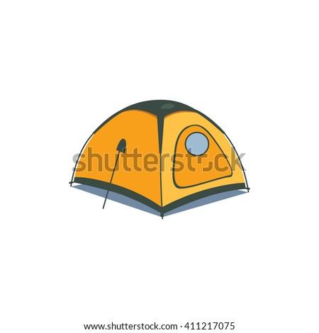 Yellow Canvas Tent Cartoon Simple Style Colorful Isolated Flat Vector Illustration On White Background - stock vector