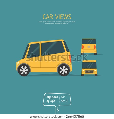 Yellow car views on blue background - stock vector
