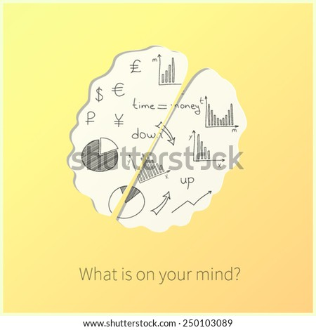 Yellow card with human`s brain, business doodles and question: What is on your mind? Vector.  - stock vector