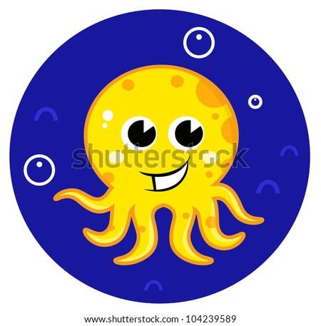 Yellow cartoon octopus in sea water - stock vector