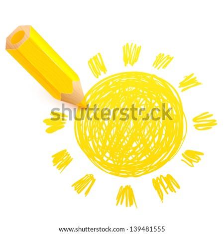 Yellow cartoon pencil with doodle sun - stock vector