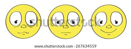 yellow cartoon smiley emoticon face set - stock vector