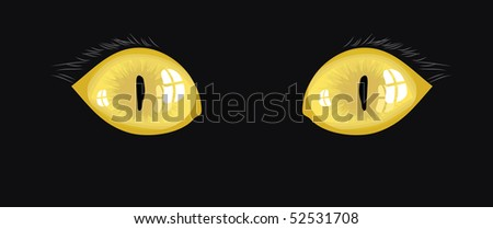 yellow cat eyes illustration on a black background - stock vector