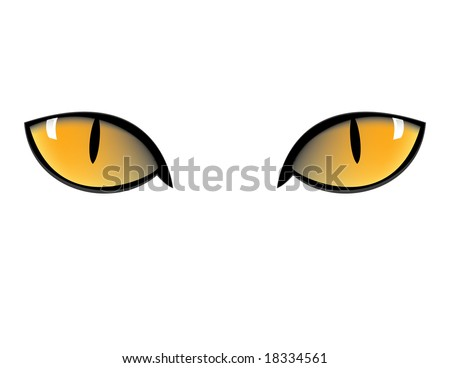 yellow cat eyes in black background - stock vector