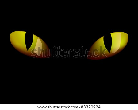 Yellow cat eyes in darkness - photo-real - stock vector